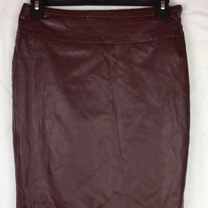 The Limited Skirt Brown Red Faux Leather